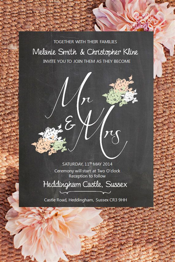 Mr And Mrs (or Mr And Mr/Mrs And Mrs) Chalk Shabby Chic Wedding Invitation    DIY Digital File   Custom Colours On Etsy,