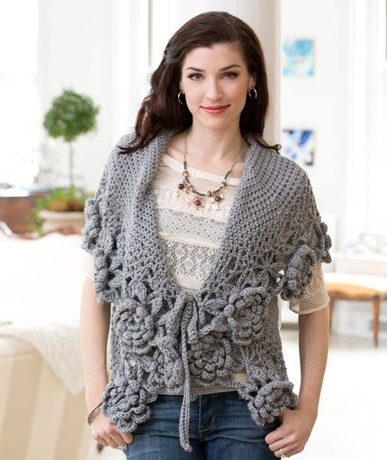Love This Cardi free crochet pattern from Reg Heart (rated for the experienced crocheter; pattern by Tammy Hildebrand)