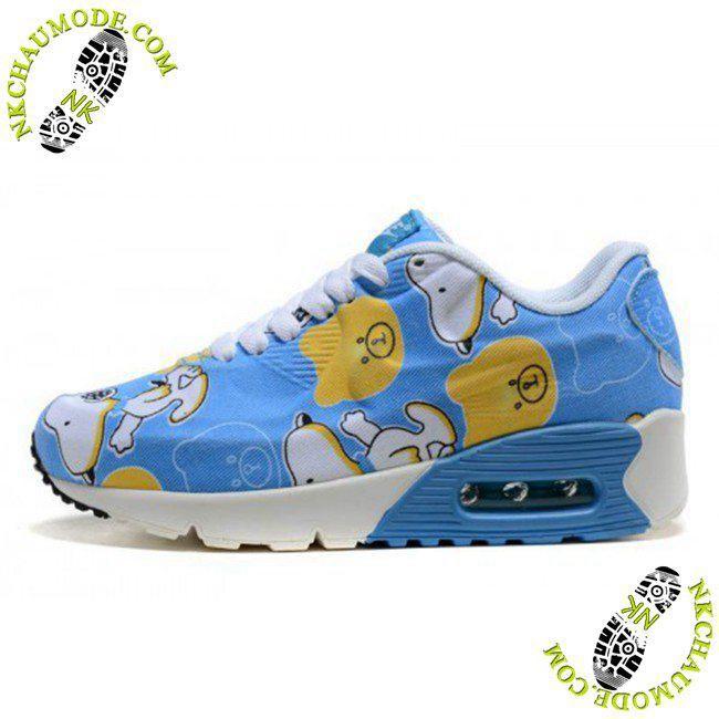 chaussures nike running soldes Air Max 90 Enfant Snoopy Bleu Blanc