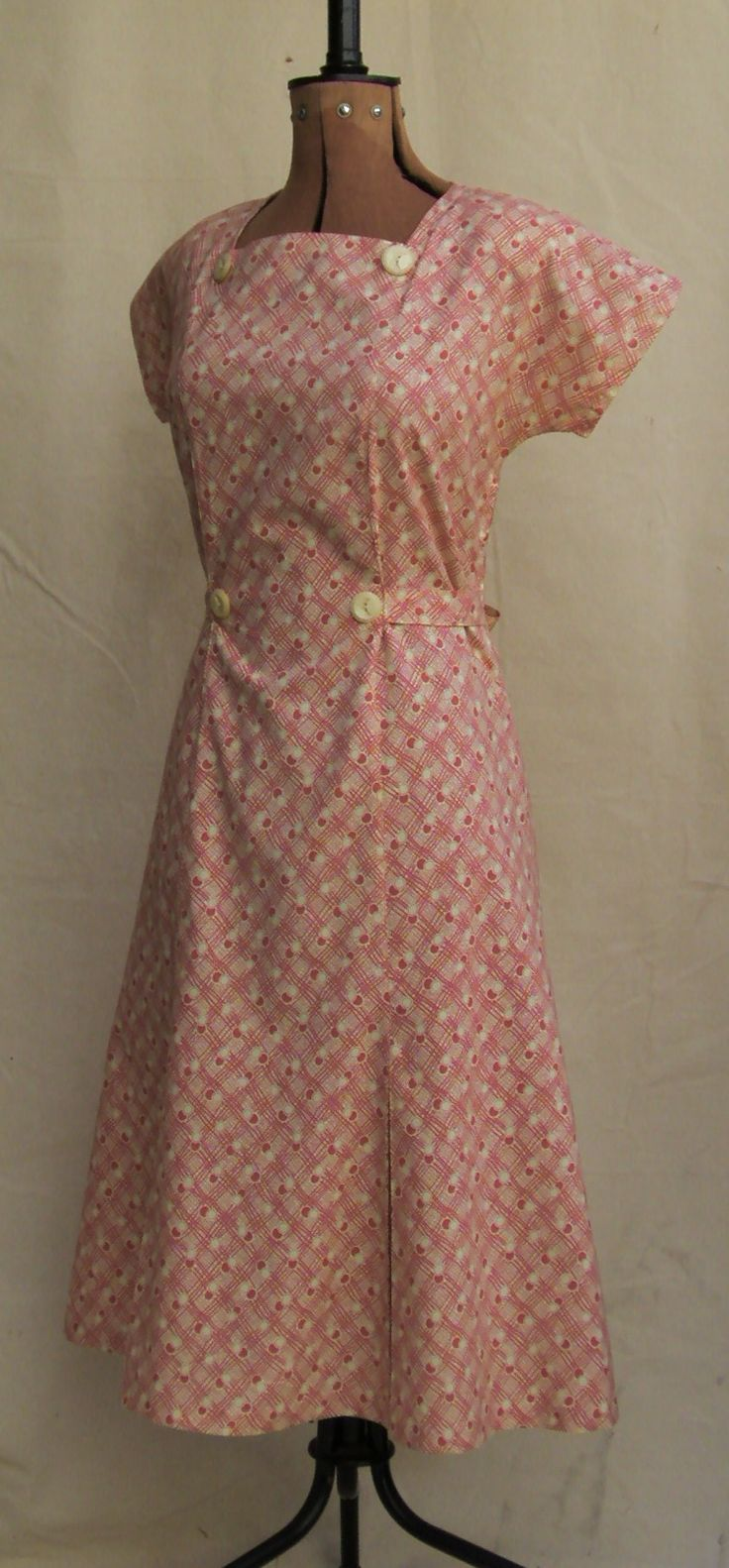 Vintage Reproduction 1930s Summer Dress In Pink Feedsack Type Cotton