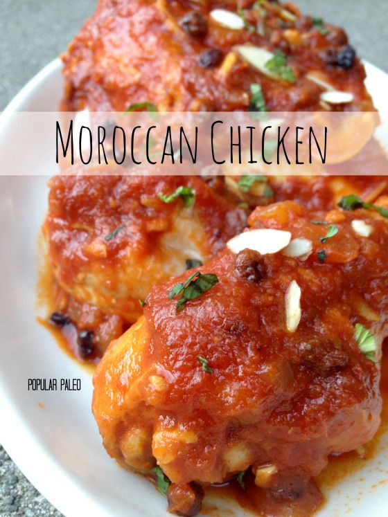 Paleo Moroccan Chicken on www.PopularPaleo.com -- A sweet and tangy tomato-based sauce smothered over braised chicken. This is a budget-friendly recipe with big flavors!