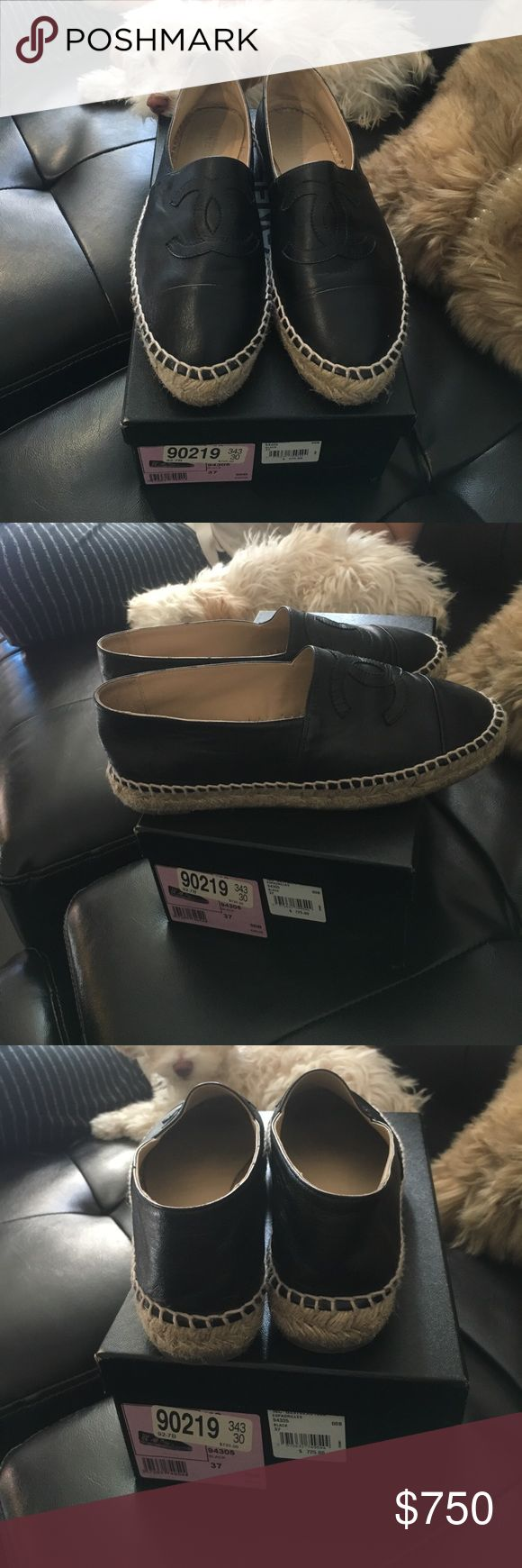Chanel black leather flats Black leather Chanel  espadrilles. Size 37. Worn 3 times is amazing condition like brand new! This version of the shoes is the double sole. These espadrilles are sold out nationwide. Bought at Neman Marcus Beverly Hills. Very rare and hard to get your hands one. Retails for over $850. Includes box and dustbag. 100% authentic CHANEL Shoes Espadrilles