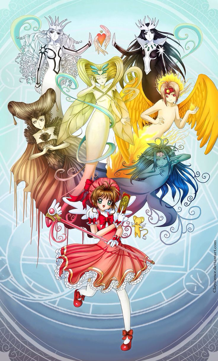 Sakura with Woody, Watery, Firey, Windy, Light and Dark clow cards
