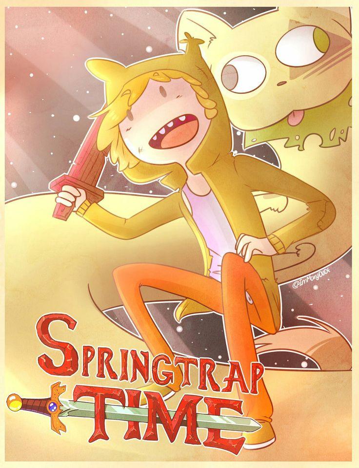 Hoora de Springtrap  Llama a tus amigos   Vamos a bosques muy lejanos   con Bestia el perro   Y Springtrap el humano  Lo pasaremos genial   hora de Springtrap