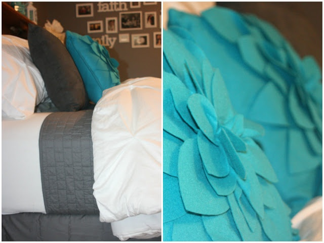 Making Over Our Master Bedroom - After. Turquoise, Aqua, White, and Grey Bedroom