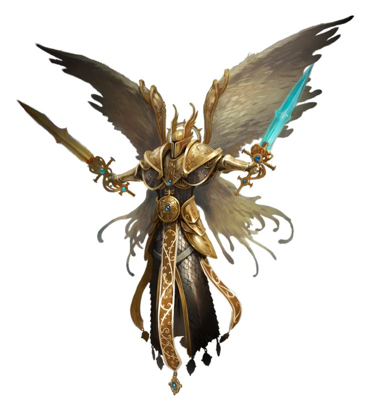 Dual Sword Angel - Pathfinder PFRPG DND D&D 3.5 5th ed d20 fantasy