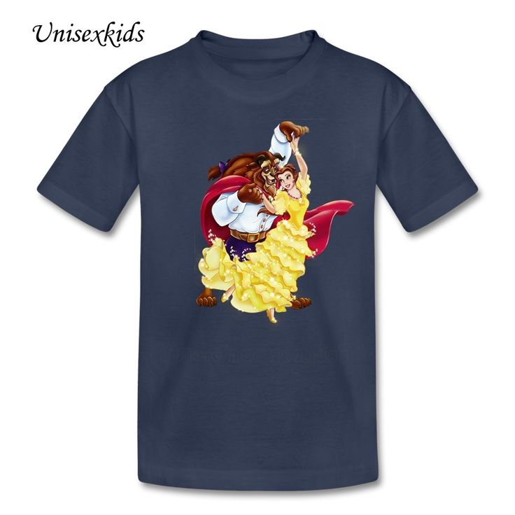 2017 New Beauty And The Beast Baby T Shirts Kids Funny Cartoon Picture Short Sleeve t-shirt Boy Girl Tee 100% Cotton Cloth Tops