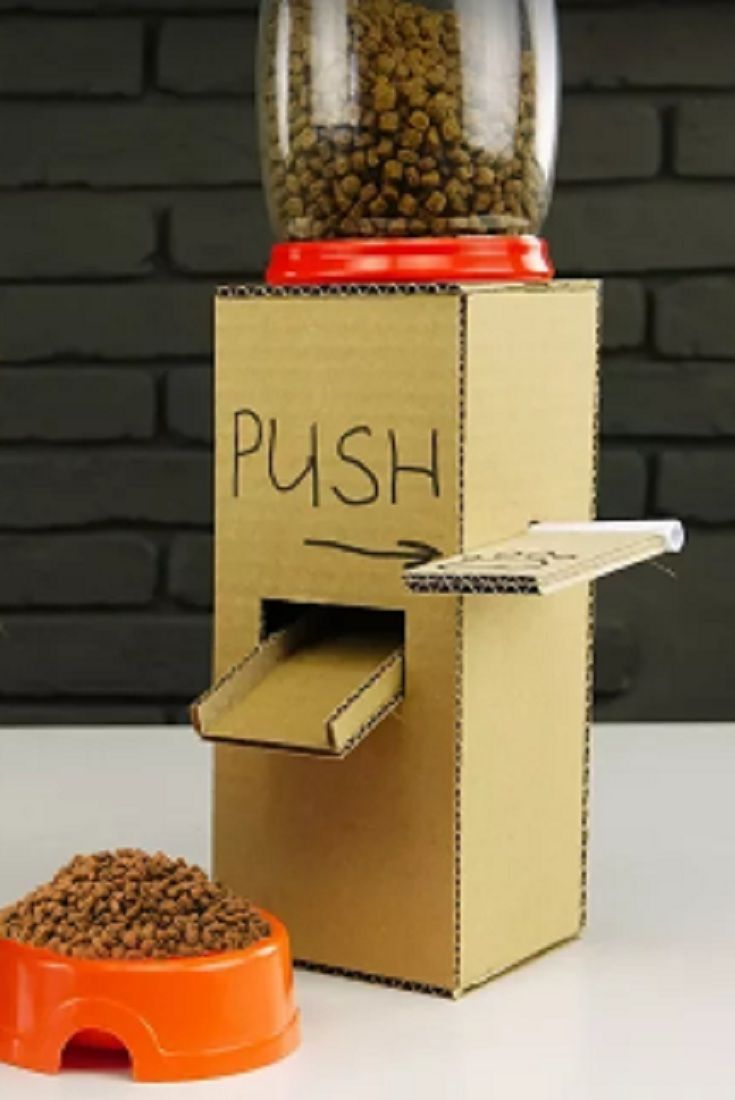 Diy Puppy Dog Food Dispenser From Cardboard At Home Video Diy