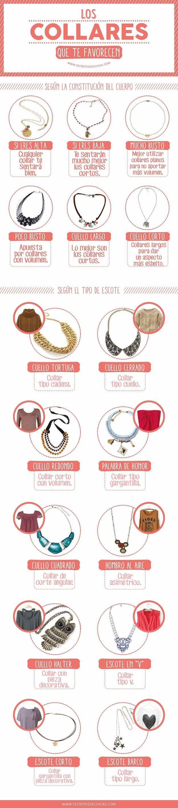 Si te gustan los collares, amarás esta infografía. | 18 Guías visuales de estilo que toda mujer necesita en su vida