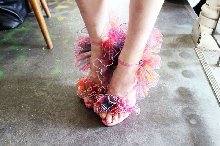 Romance was Born pastel pink colorful ruffle sandals heels