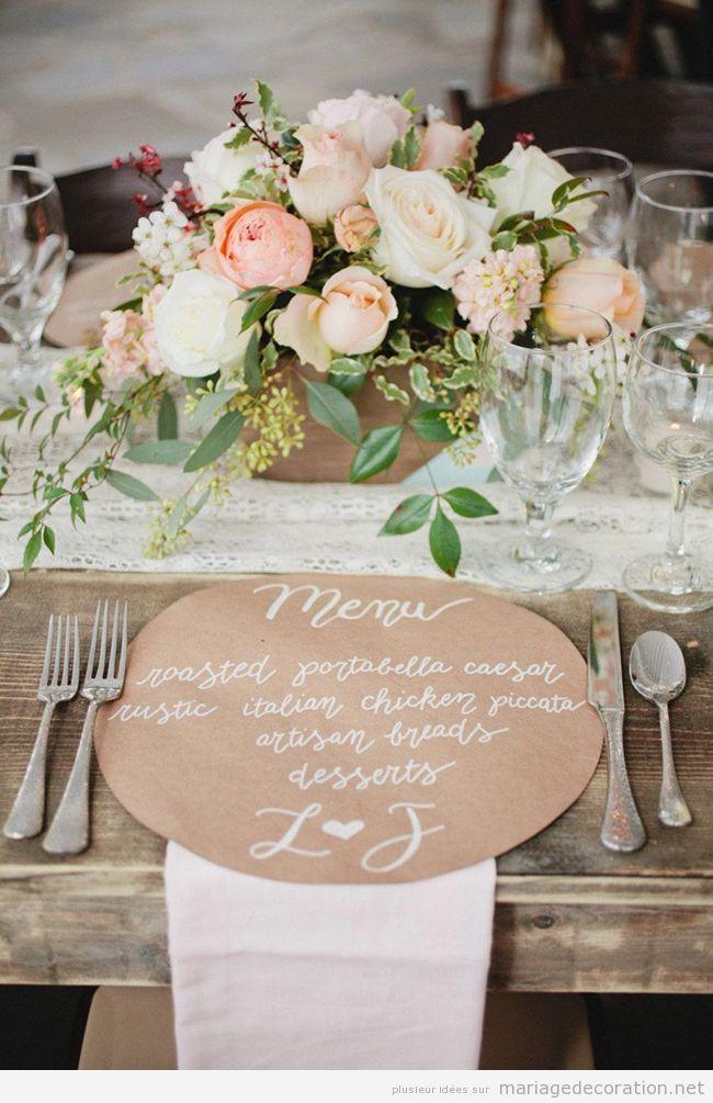 Si votre mariage c'est bohème et à la campagne, cette décoration de table rustique et chic, aussi un peu vintage, c'est tellment parfaite. J'adore surtout le menus écrit à la main…