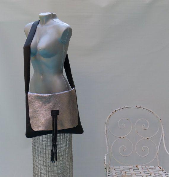leather crossbody bag metallic leather purse shoulder bag,Urban Handbag, Large Shoulder Bag,Everyday Use black and Metallic silver