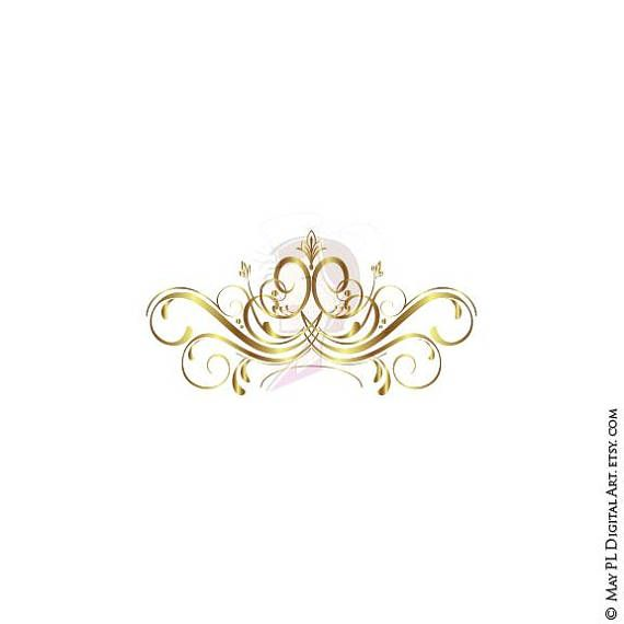 Gold Swirl Design Flourish Clipart Elements For Diy Business Etsy Line Artwork Swirl Design Gold Clipart