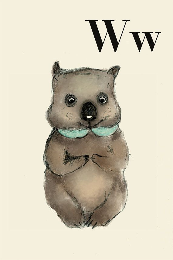 W fo wombat  Alphabet art  Alphabet print  ABC wall art  by holli
