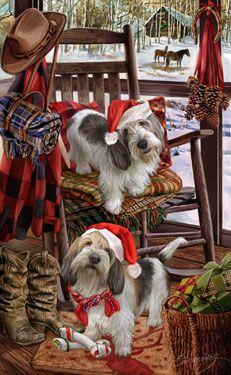 Petit Basset Griffon Vendéen {PBGV} - Christmas Companions - by Margaret Sweeney