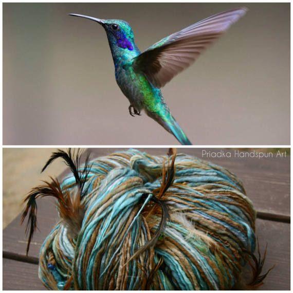 HUMMINGBIRD Handspun Art Yarn superfein merino wool silk 50/50 feathers beads