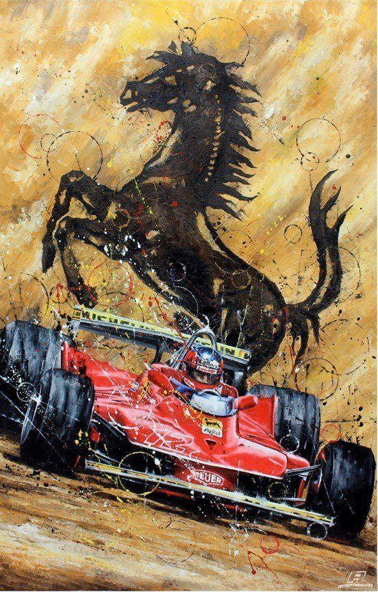 - Quadro in tributo di Gilles Villeneuve - immagine trovata  - olio su tela (?) - L'immagine esprime il rapporto che aveva la Ferrari con uno dei suoi più amati piloti Gilles Villeneuve.