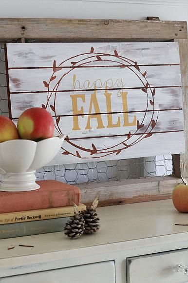 """DecoArt Blog - Project - """"Happy Fall"""" Wood Panel using a Stencil cut with the Silhouette"""
