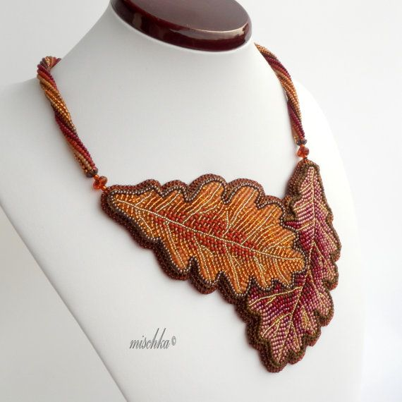Bead embroidered necklace oak leaves by beadedmischka on