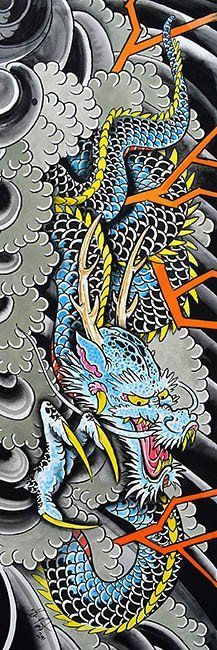 Clarks Blue Dragon by Clark North Traditional Asian Giclee Art Print – moodswingsonthenet