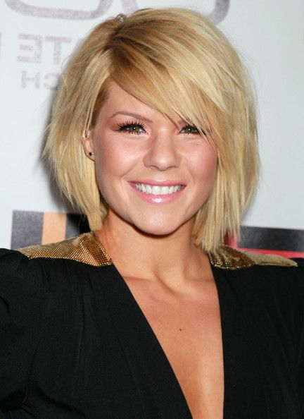 short blonde bob hairstyle with side swept bangs Layered Hairstyles ...