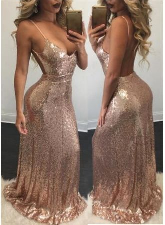 795b4d72043 Spaghetti-Strap Sequins Mermaid Sexy Backless Prom Dress