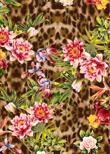 tropical pattern : floral + animal print
