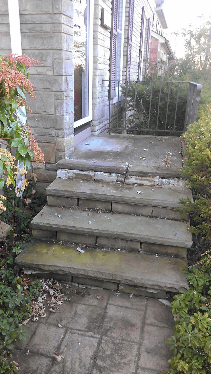 Tear Down Original Front Sand Stone Steps & Rebuild Steps