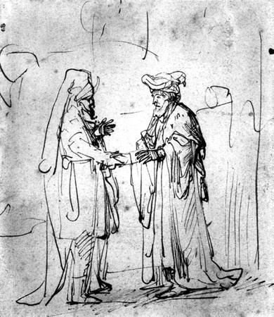 Rembrandt van Rijn    Dutch, 1606-1669  Two Men Shaking Hands, ca. 1635  Ink on paper, 5 3/4 x 4 3/4 in.  The Hyde Collection, Glens Falls, New York, 1971.78  Photograph by Joseph Levy