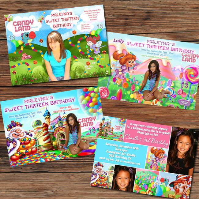 Candyland Candy Land Sweet Shoppe Birthday Party Invitations or Thank You Cards - 4 designs to choose by PoshPrintPhotography on Etsy https://www.etsy.com/listing/212330046/candyland-candy-land-sweet-shoppe