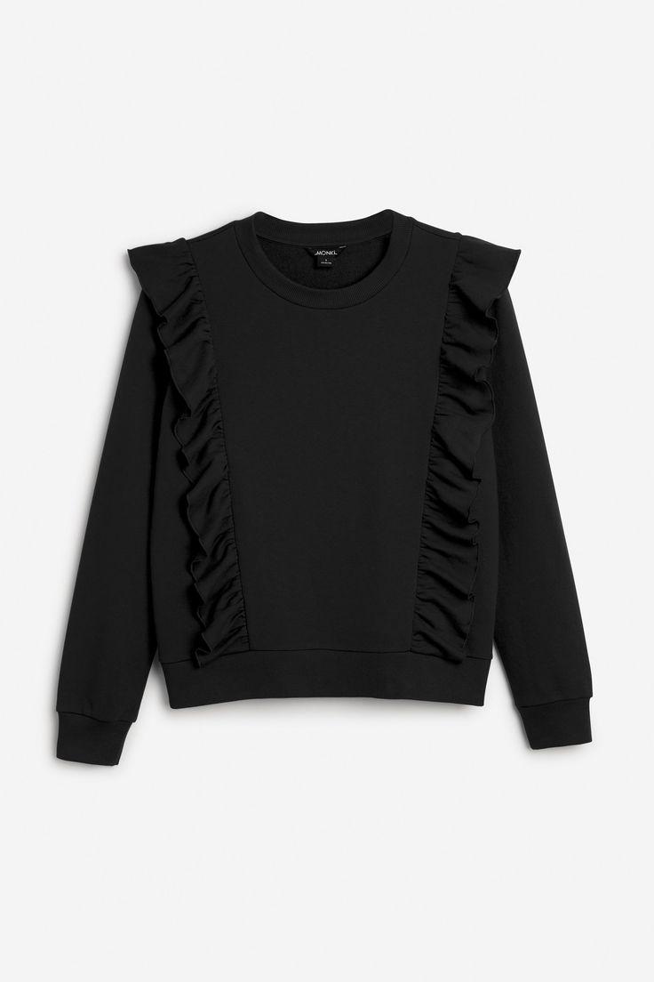 Monki Image 1 of Ruffle sweater in Black