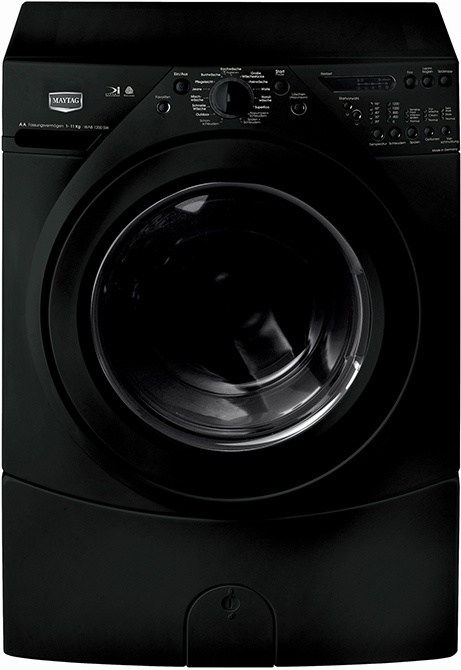 Maytag black washing machine  -like the shape and color, fits my concept