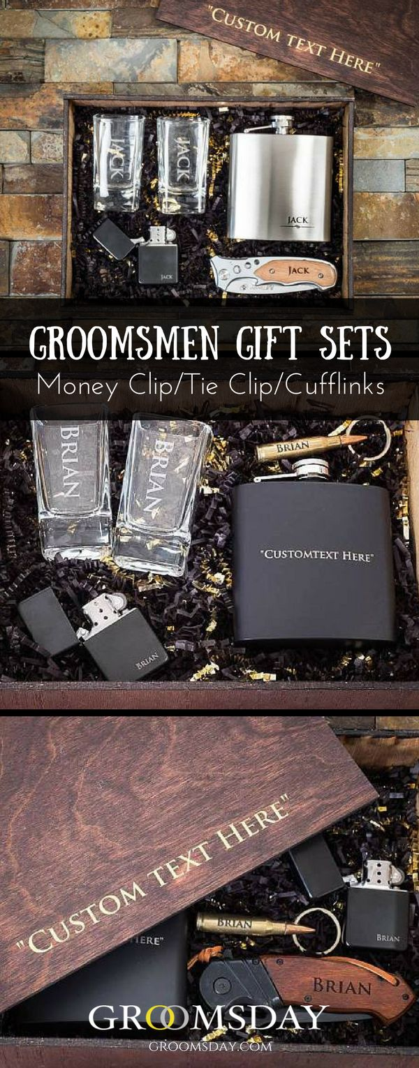 Get this personalized groomsmen gift set which contains a money clip, a tie clip,and a pair of cufflinks, all made from metal because we know, metal is straight class, gives a refined and polished look and it's the perfect medium and can turn you into your woman's knight in shining armor if done right. Share & repin! Only from Groomsday | Groomsday.com#cufflinks#moneyclip#tieclip#groom#groomsmen#groomsmengifts#personalizedgifts#giftsformen#mensaccessories