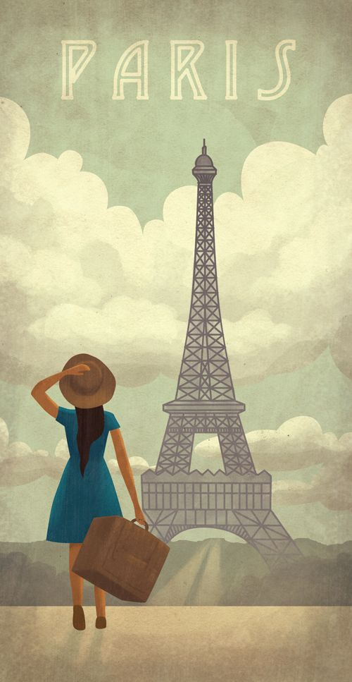 Paris Travel Poster, depicting a woman with her suitcase looking at the Eiffel…