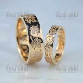 Обручальные кольца с изображением деревьев, листьев с почками берёзы и клёна (Вес пары:10,5 гр.)