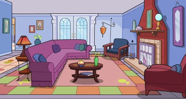 cartoon living room clipart (With images) | Living room ...