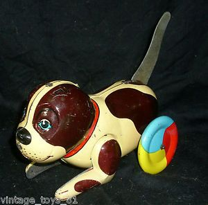 tin toys made in china | ... Tin Puppy Dog Toy Wheels Push Tail and Rolls Moves Made in China