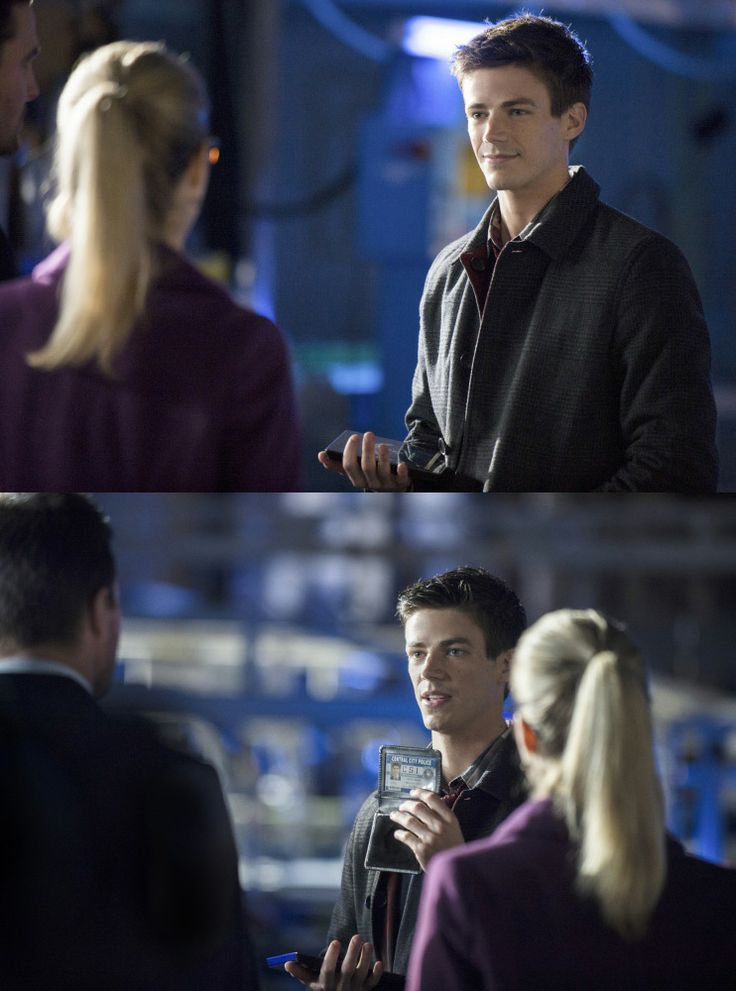 Arrow - The Scientist -  Emily Bett Rickards as Felicity Smoak & Grant Gustin as Barry Allen (The Flash)