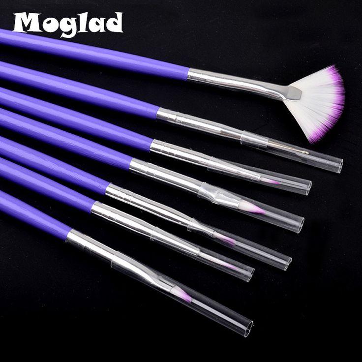 Moglad New 7pcs/set Purple Nail Art Design Brush DIY Painting Drawing Brushes Pen Set Manicure Tools