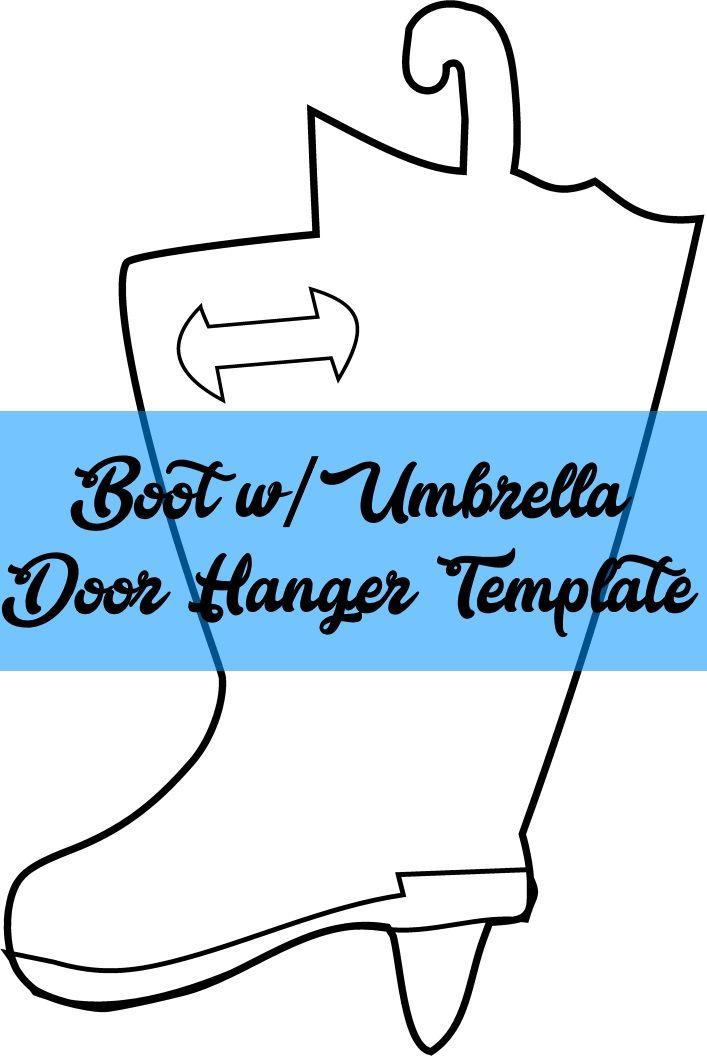 Rain Boot W Umbrella Door Hanger Template Door Hanger Template
