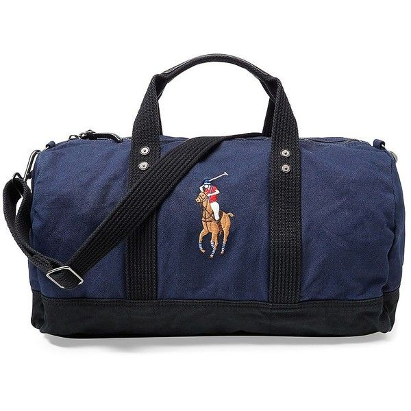 Polo Ralph Lauren Men's Canvas Big Pony Duffel Bag (9.910 RUB) ❤ liked on Polyvore featuring men's fashion, men's bags, navy, men's canvas duffle bag, mens canvas bag, mens bag, men's duffel bags and mens duffle bags