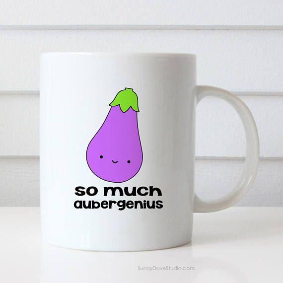 Funny Mug Congratulations Gift For Friend Her Him Eggplant Pun Aubergenius New Job Graduation Congrats Fun Gifts Ideas Cof Congratulations Gift Funny Mugs Mugs