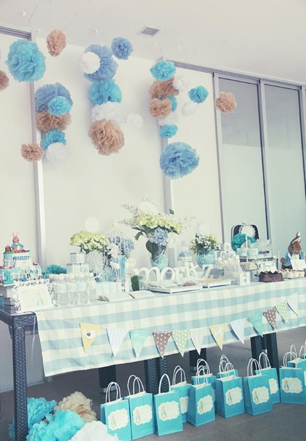 Peter Rabbit Birthday Party via karaspartyideas.com  I love the Pom poms so cute!