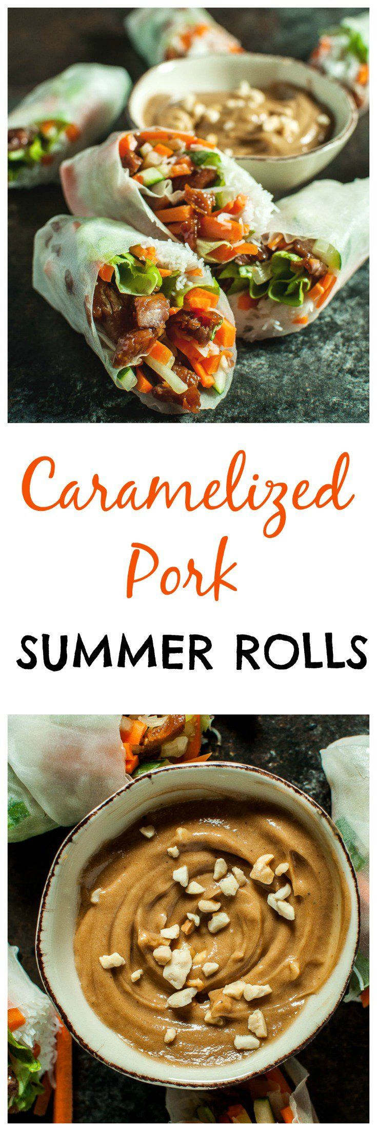 Sticky-sweet caramelized pork is complemented by crisp lettuce, carrots, and cucumber and wrapped in rice paper with vermicelli. The creamy peanut sauce makes the perfect dip for these fresh summer rolls.