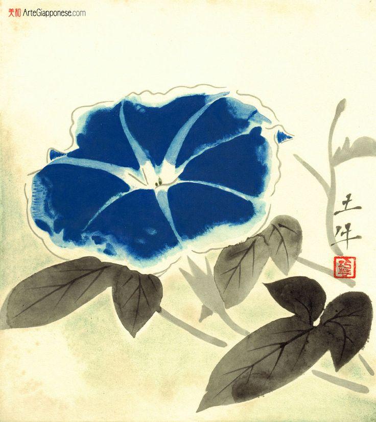 """AGOSTO.Nei primi anni dell'ottocento la moda della coltivazione delle Ipomoee Nil, note anche come """"campanelle giapponesi"""", dilagò nel Sol Levante, dove i semi di queste splendide piante raggiungevano talvolta prezzi altissimi per le richieste degli amatori.  Togyu Okumura (1889 – 1990) è stato un pittore giapponese di scuola nihonga"""