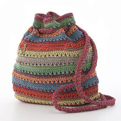 Mudd Striped Crochet Drawstring Backpack, for colour inspiration