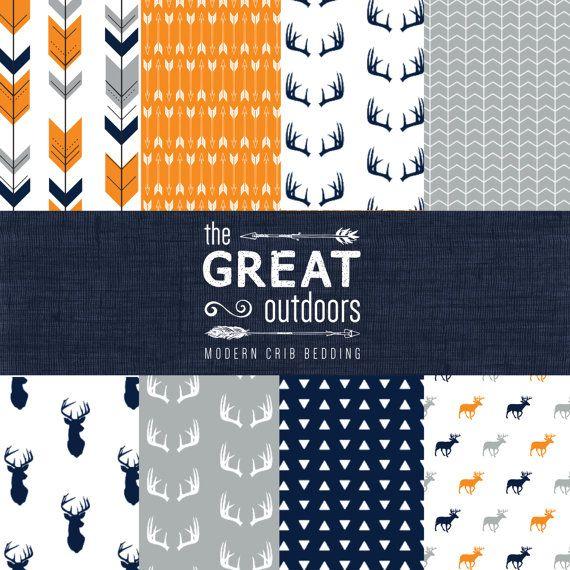 The Great Outdoors Crib Bedding Set - Modern Woodland Custom Crib Bedding - Navy/Orange/Grey - Choose your fabric - CozybyJess Exclusive on Etsy, £112.44