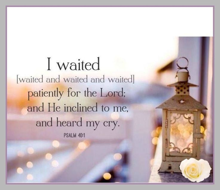PSALM  40:1 -- I waited patiently for the Lord; he turned to me and heard my cry.
