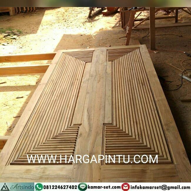 Pintu Double Pintu Kupu Tarung Kayu Jati Motif Piramida 3d By Artsindo Furniture Jepara Kayu Kayu Jati Klasik