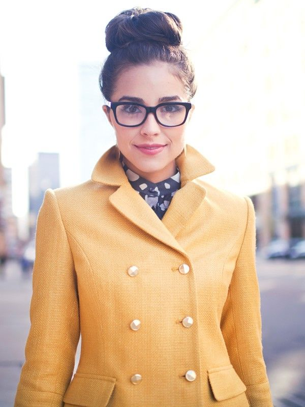 these glasses?: High Buns, Tops Buns, Fashion Accessories, Yellow Coats, Socks Buns, Yellow Jackets, Pennies Blue, Audrey Jackets, Tops Knot